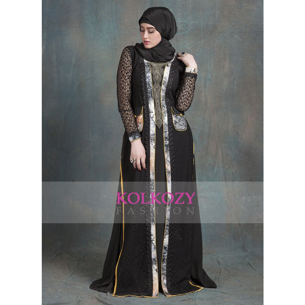 Black  Net Brasso Color Kaftan Arabic Style with Pocket and Thread Work