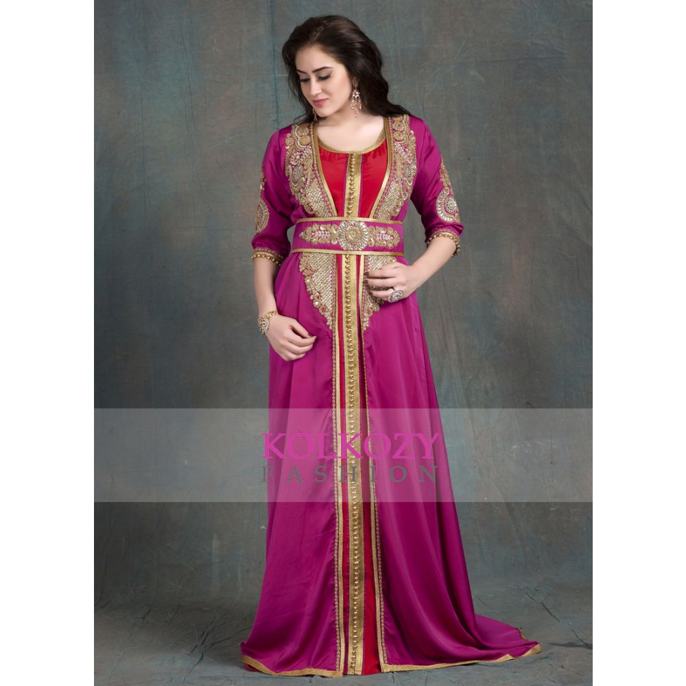 Gulf Pink and Maroon Color Partywear Jacket  Style Dubai Moroccan kaftan