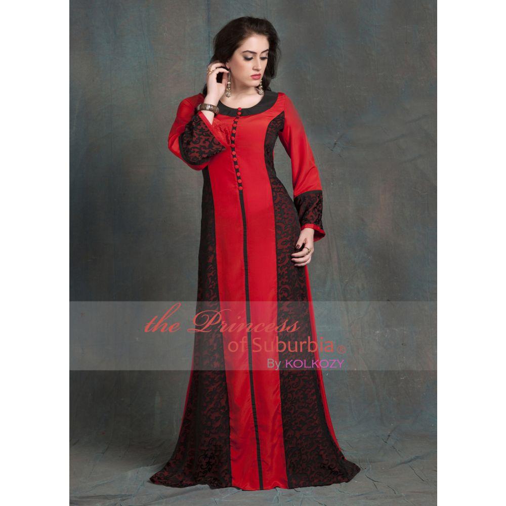 Evening Dress Black and Red Color Arabic dubai party Abaya Dress
