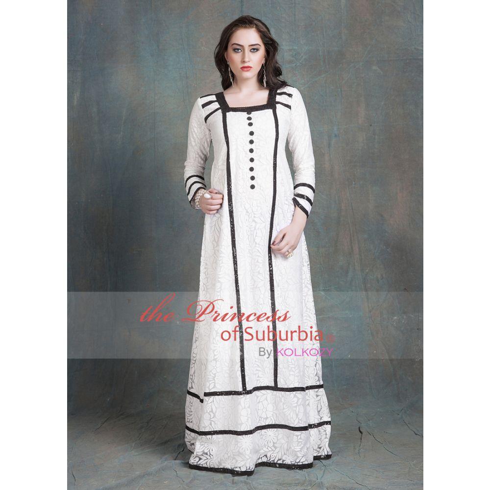 Evening Dress White Color Arabic dubai Black Lace Work Abaya Dress