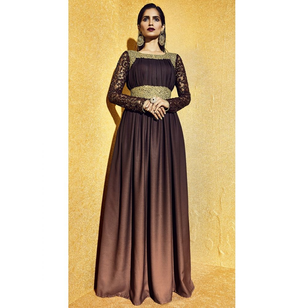 Chocolate and Brown Color Fancy Kameez with Plain Work Narrow Pants