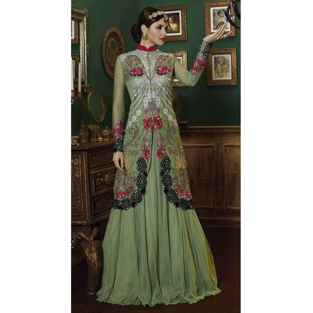 Green color Designer Lehnga Choli-Net Lehenga Choli