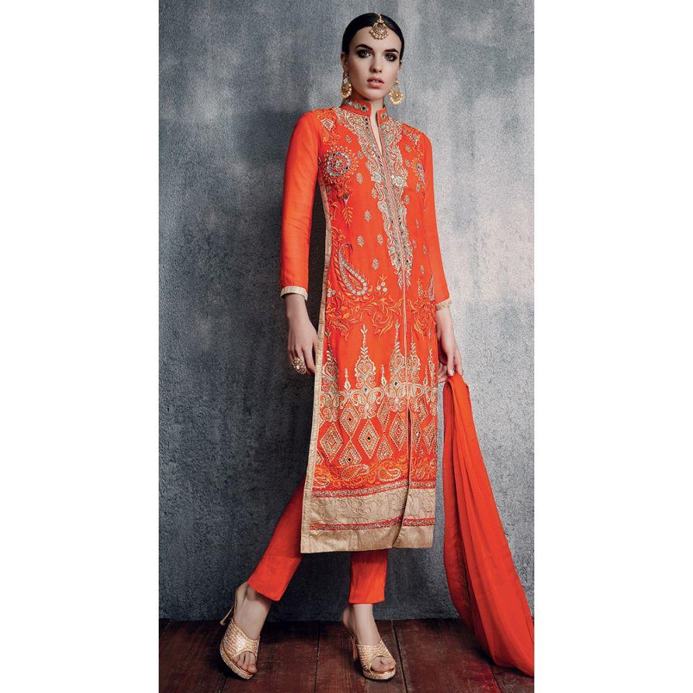 Orange Red color Casual Salwar Kameez-Georgette Salwar Kameez