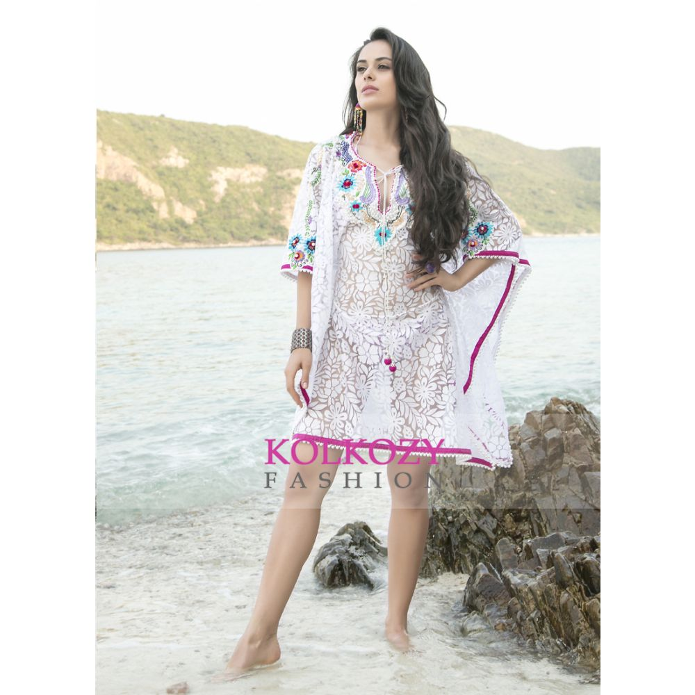 White and Pink Color Pearl Work Free Size Cover Ups