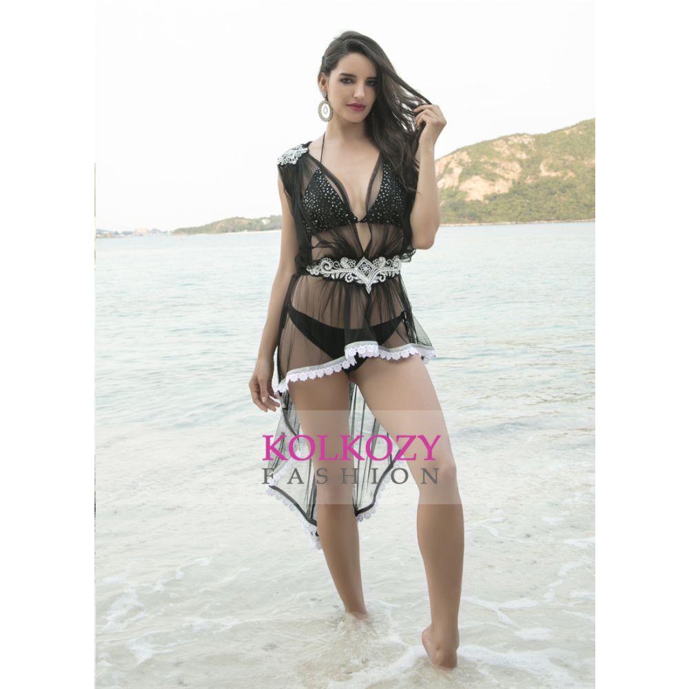 Black Color Beaded Short Maxi Beach Dress