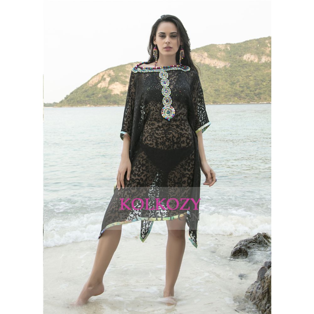 Black Color Multi Beaded Cover Ups