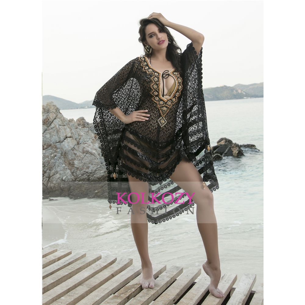 Black and Gold Color Beaded Cover Ups