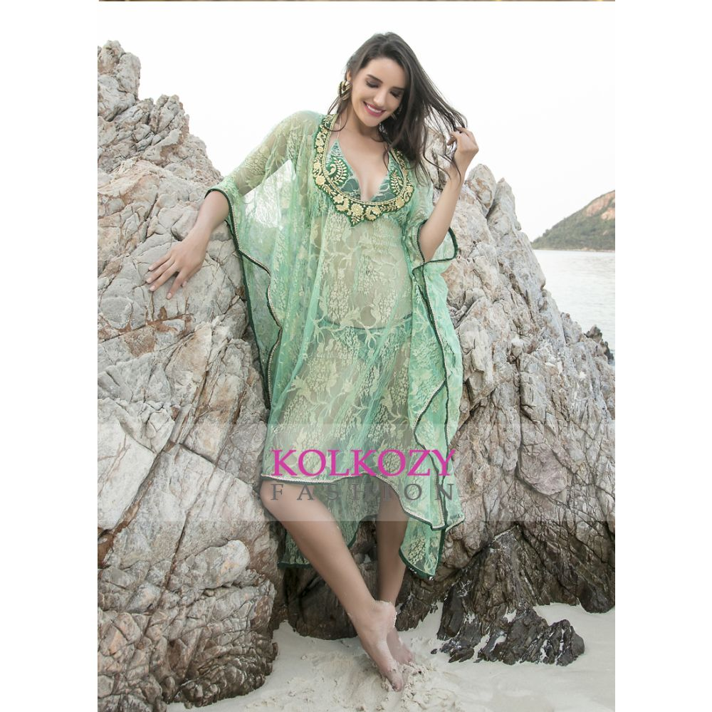 Sea Green Color  Embroidered Cover Up
