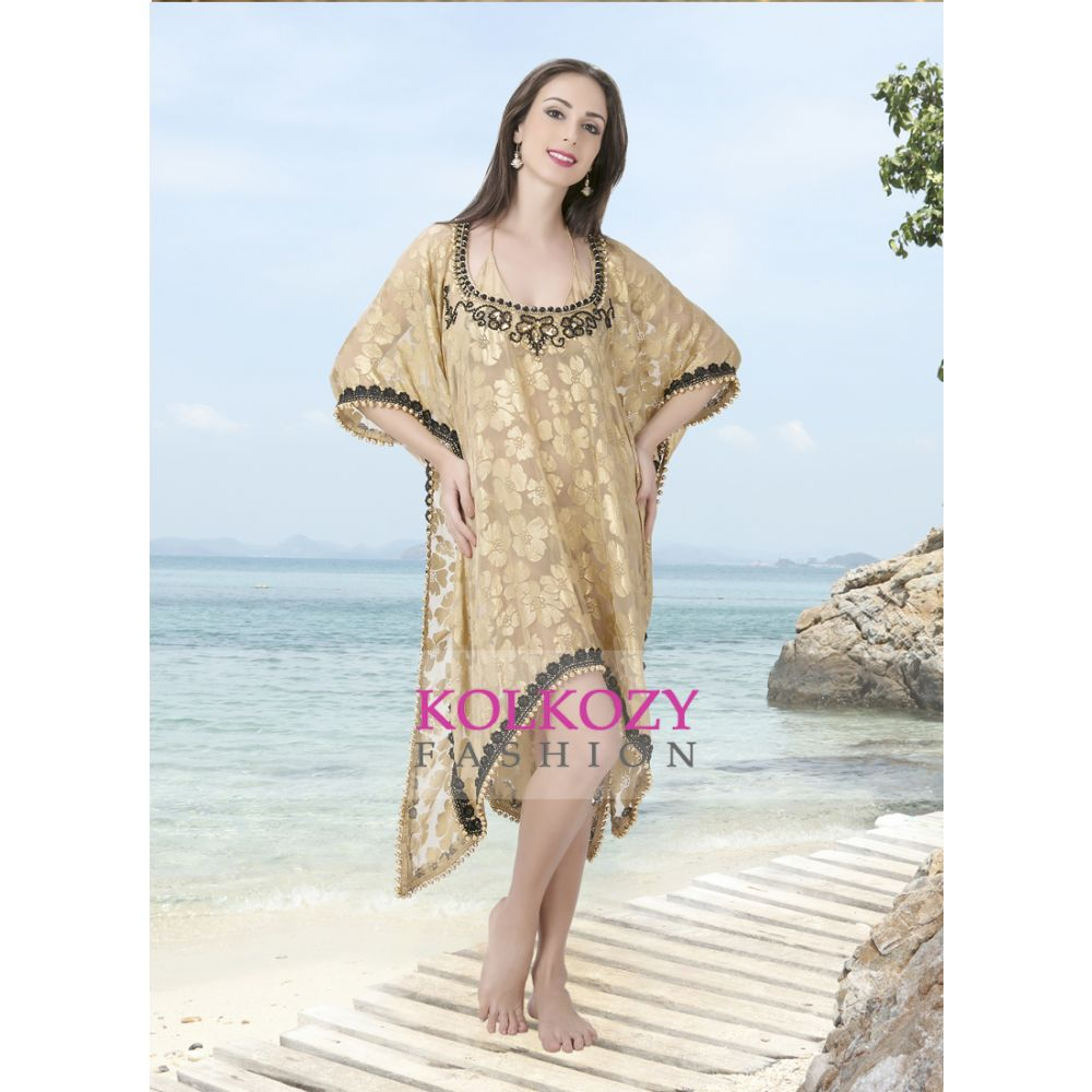 Hand Beaded Cover Ups Biscuit and Gold Color