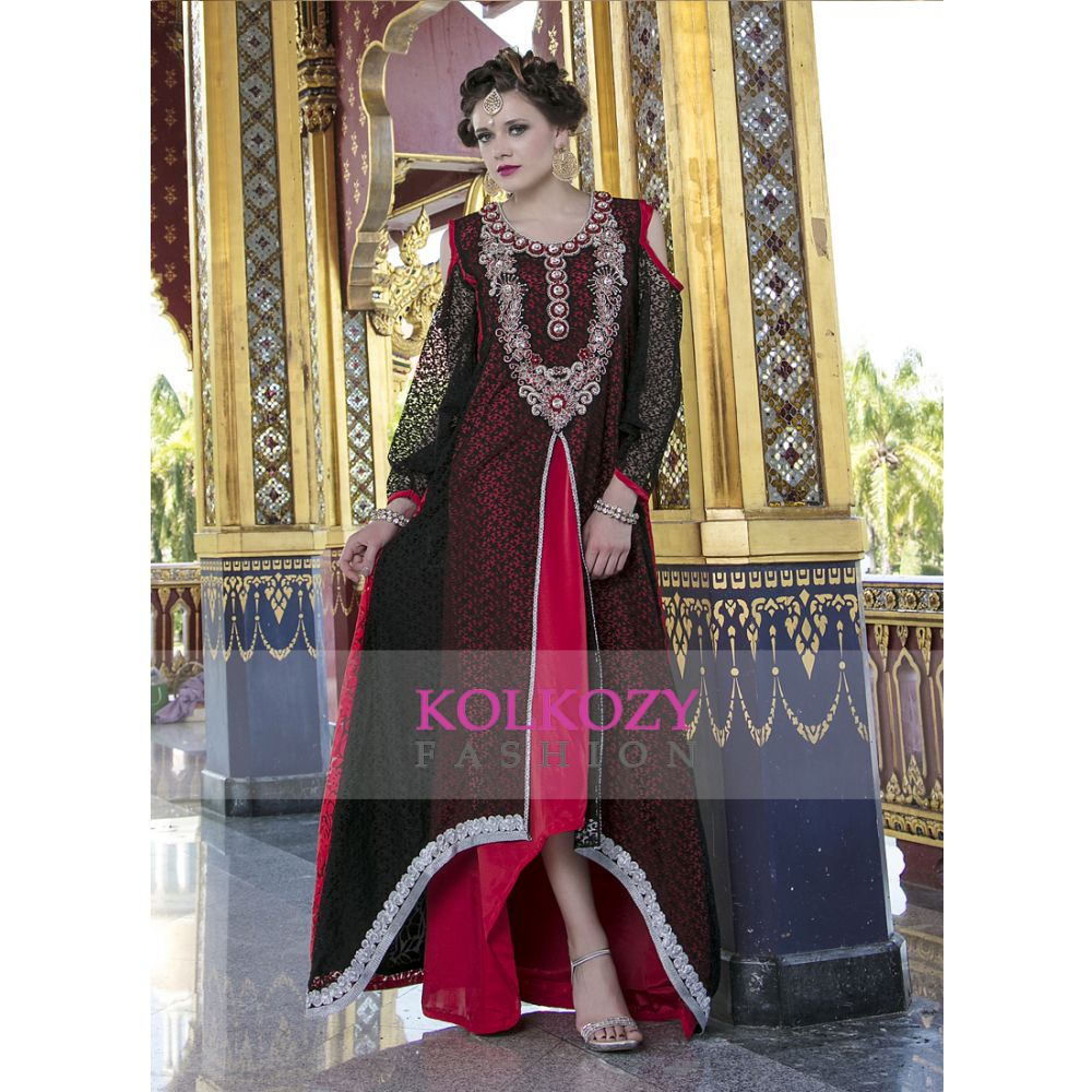 Modern Style Stones and Sequins Work Red and Black Color Formal Maxi Dress