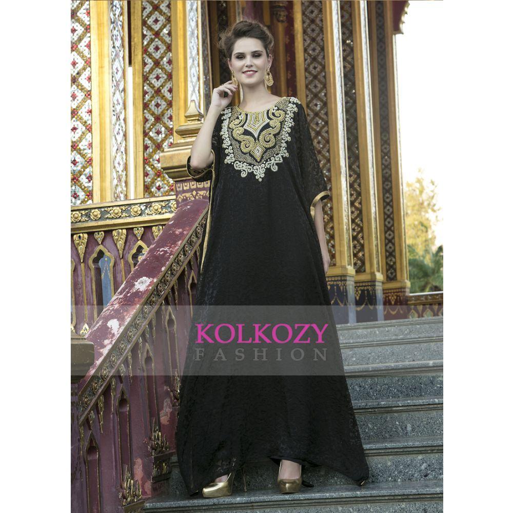 Arabic Style Free Size Black Color Hand Made Kaftan