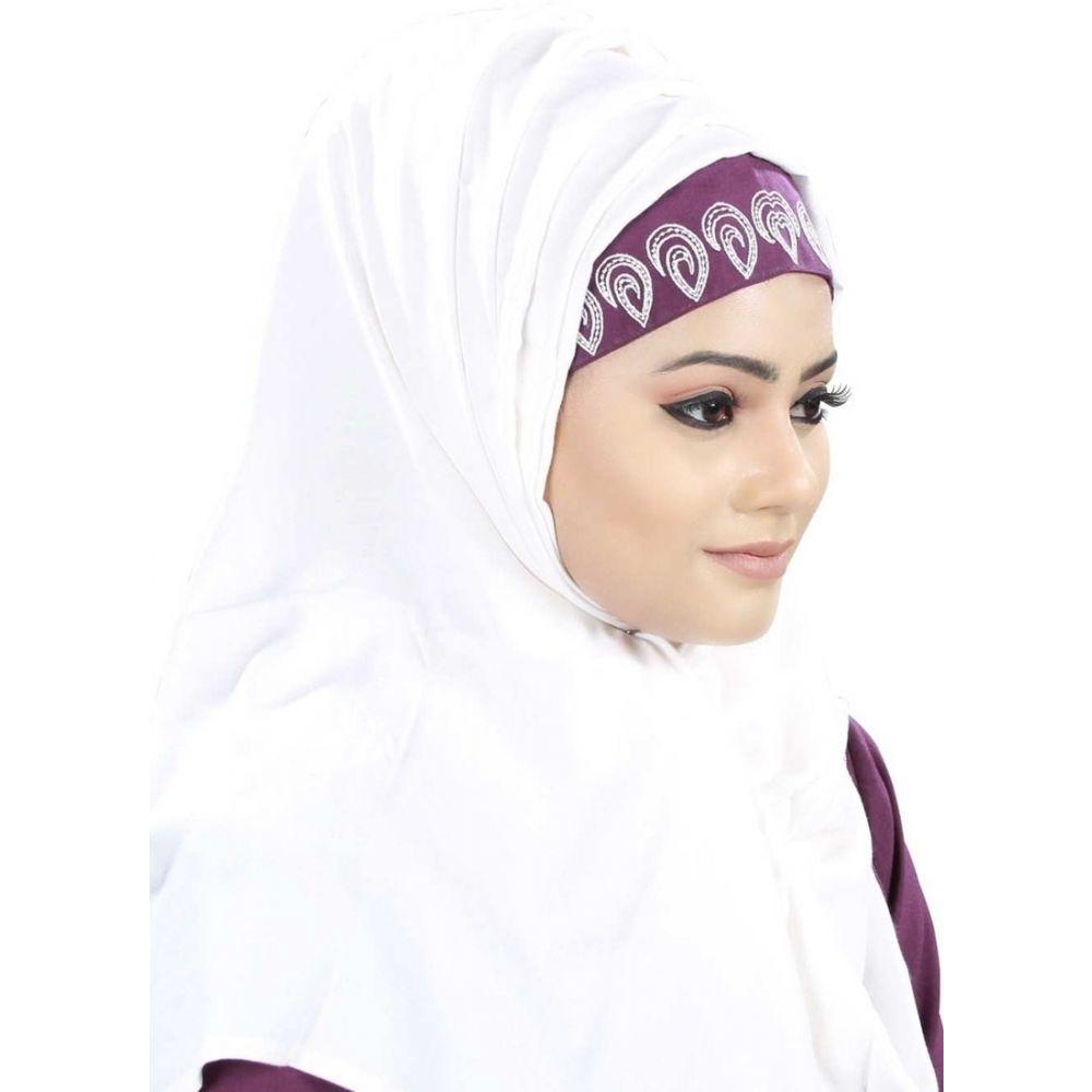 White color Designer-Rayon Hijab
