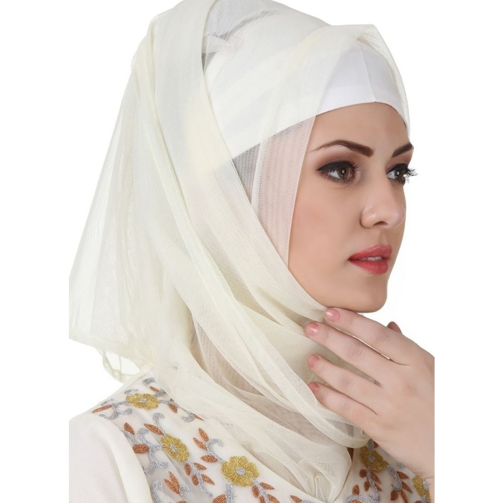 White color Designer-Crepe Hijab