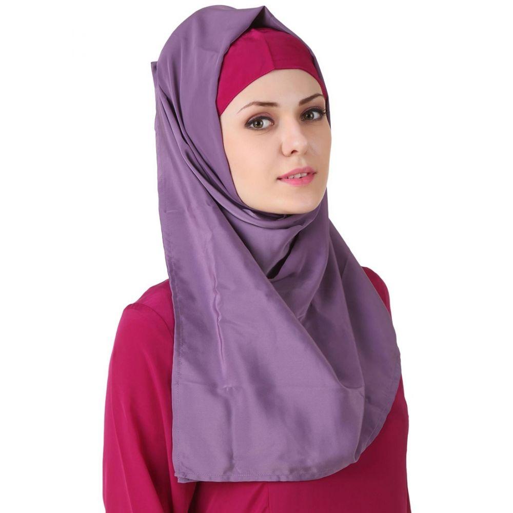 Purple color Designer-Crepe Hijab