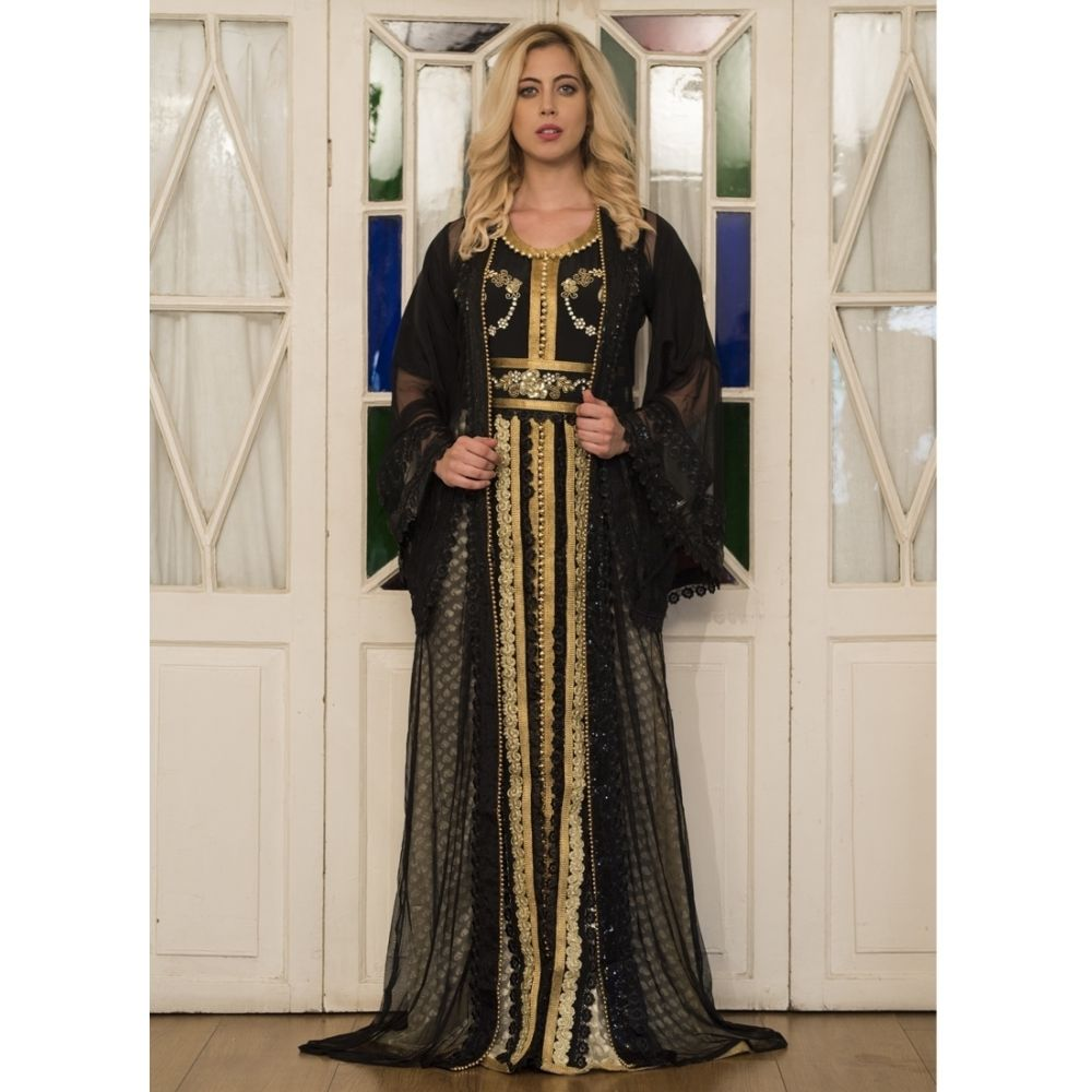 Black and Beige Partywear Jacket Style Moroccan Dress