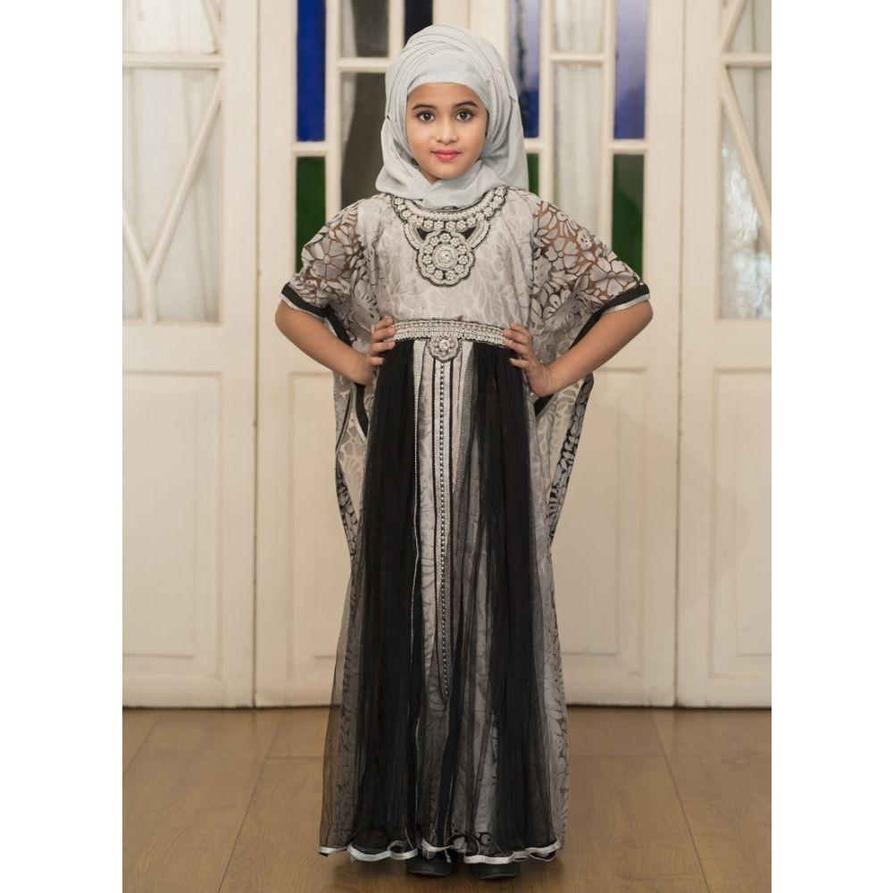 Gray Partywear Style Children Kaftan Dress