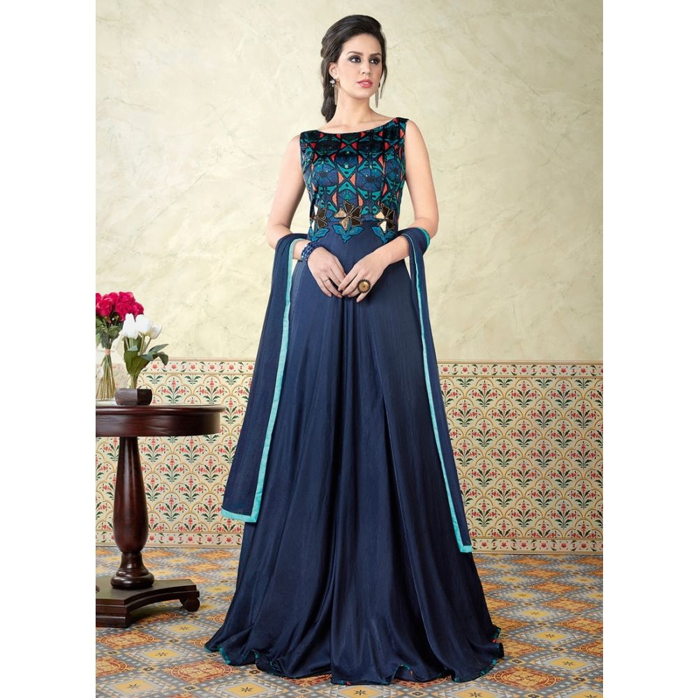 Blue color Designer-Satin Salwar Kameez