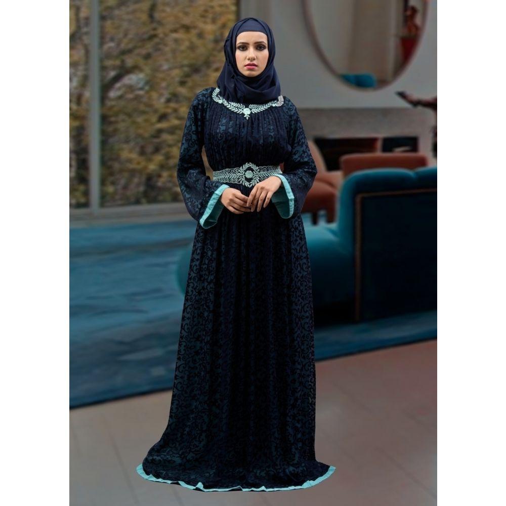 Style Thread Work  Aqua Blue Abaya