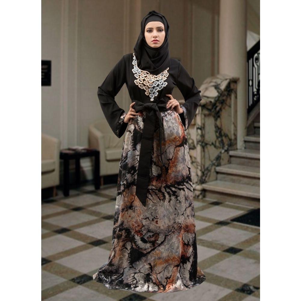 Black and Multicoloured Color Arabic Muslim Abaya