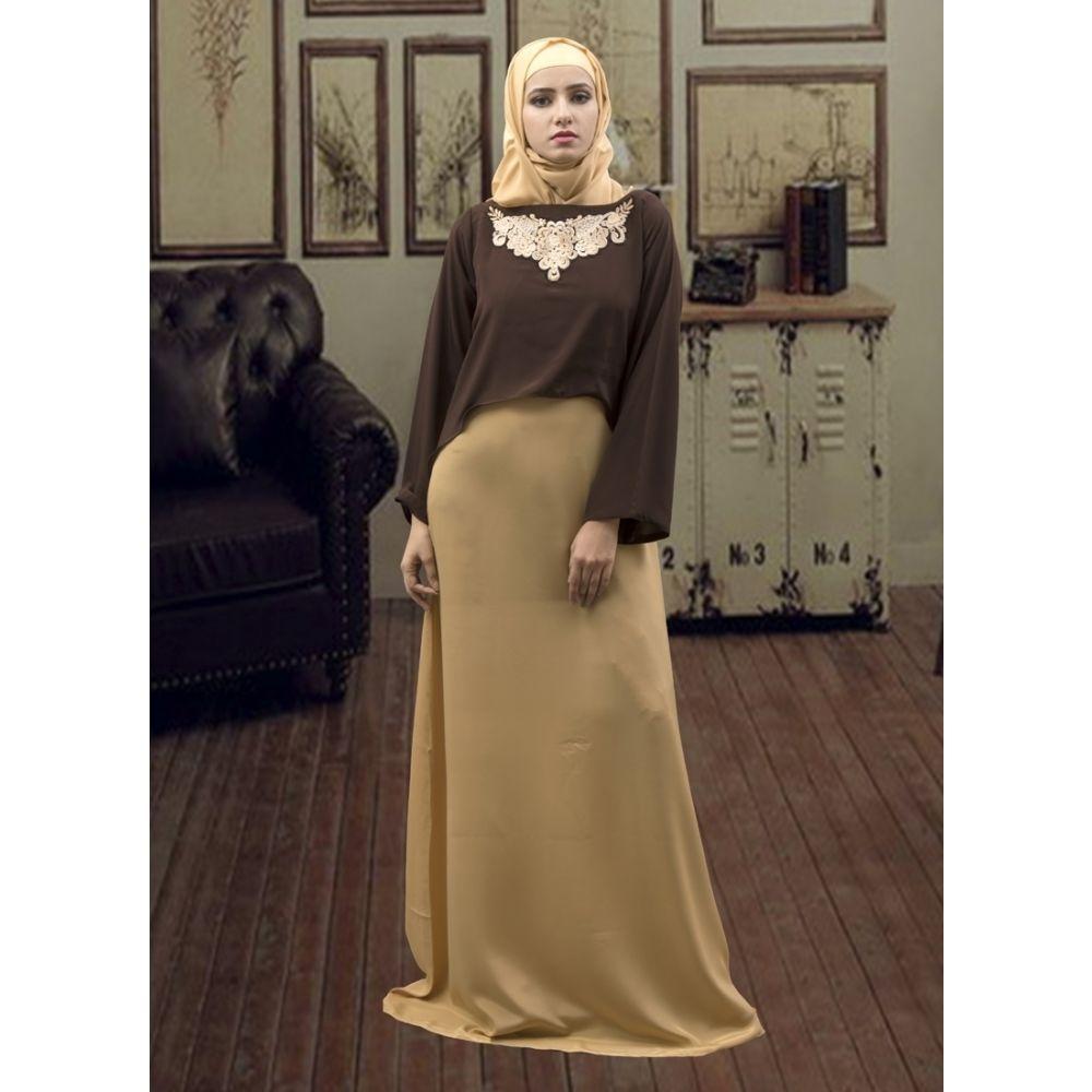 Formal Muslim Evening Brown and Beige Color Abaya