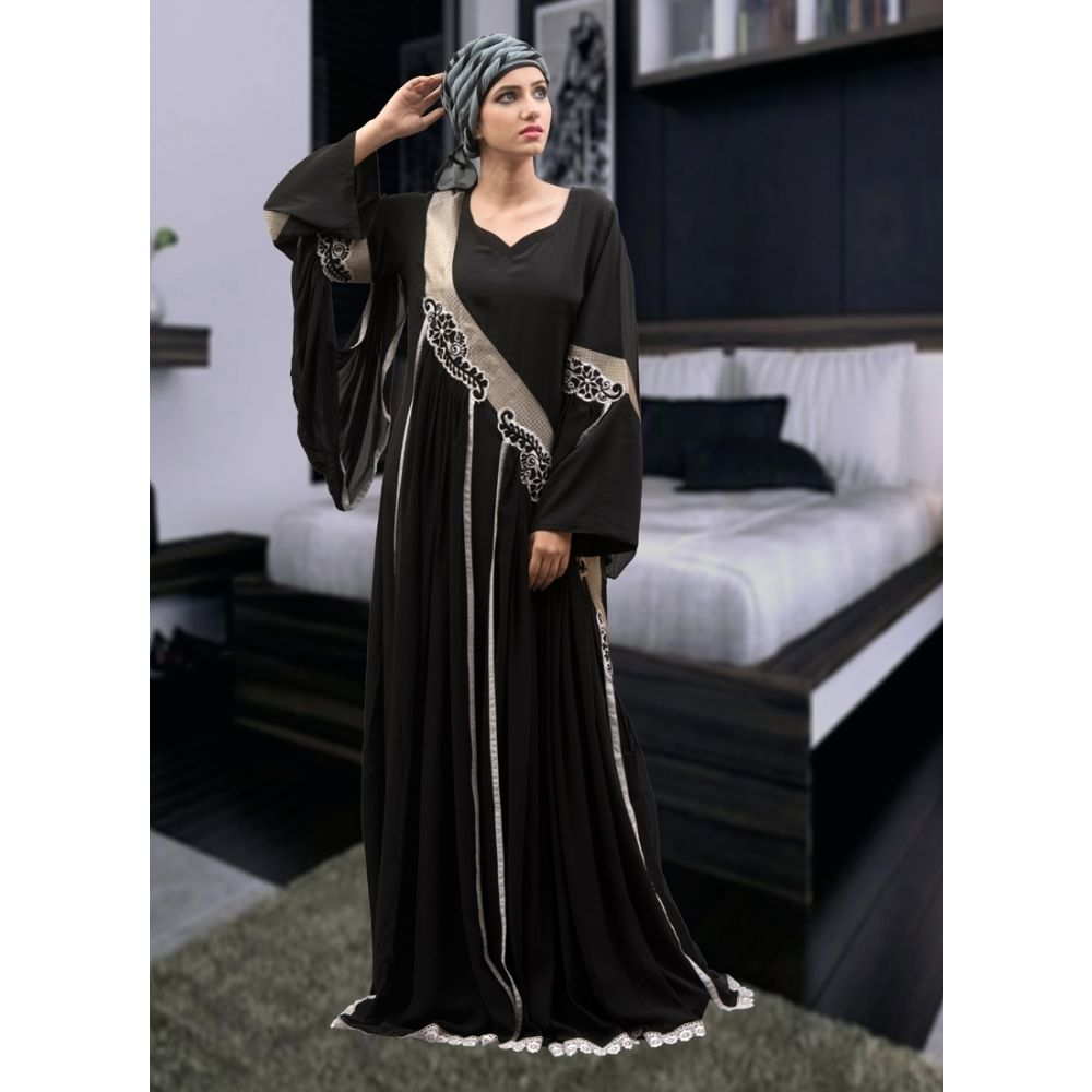Modest Thread Work Abaya Dress Black Color