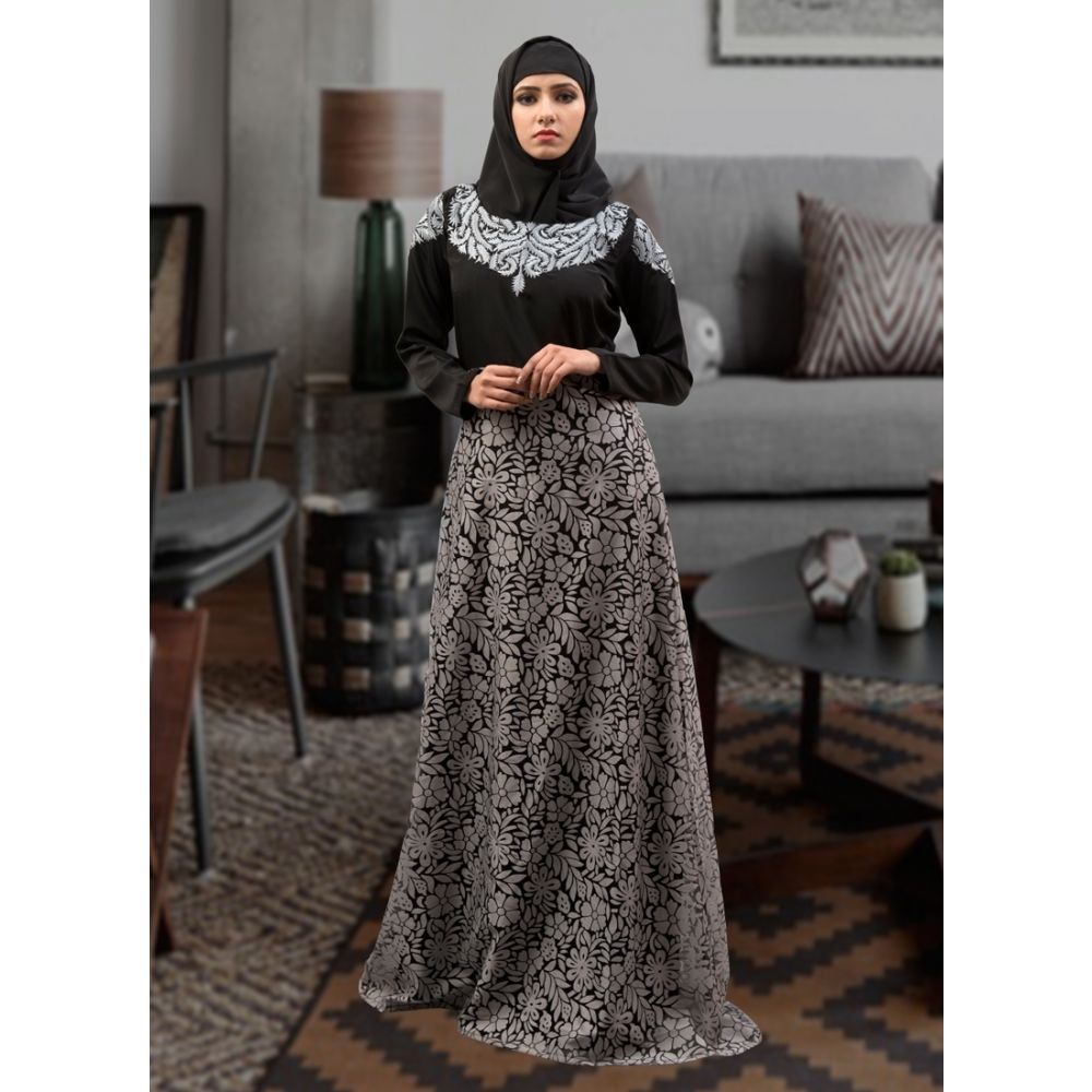 Embroidered  Work Formal Abaya Black and Gray Color