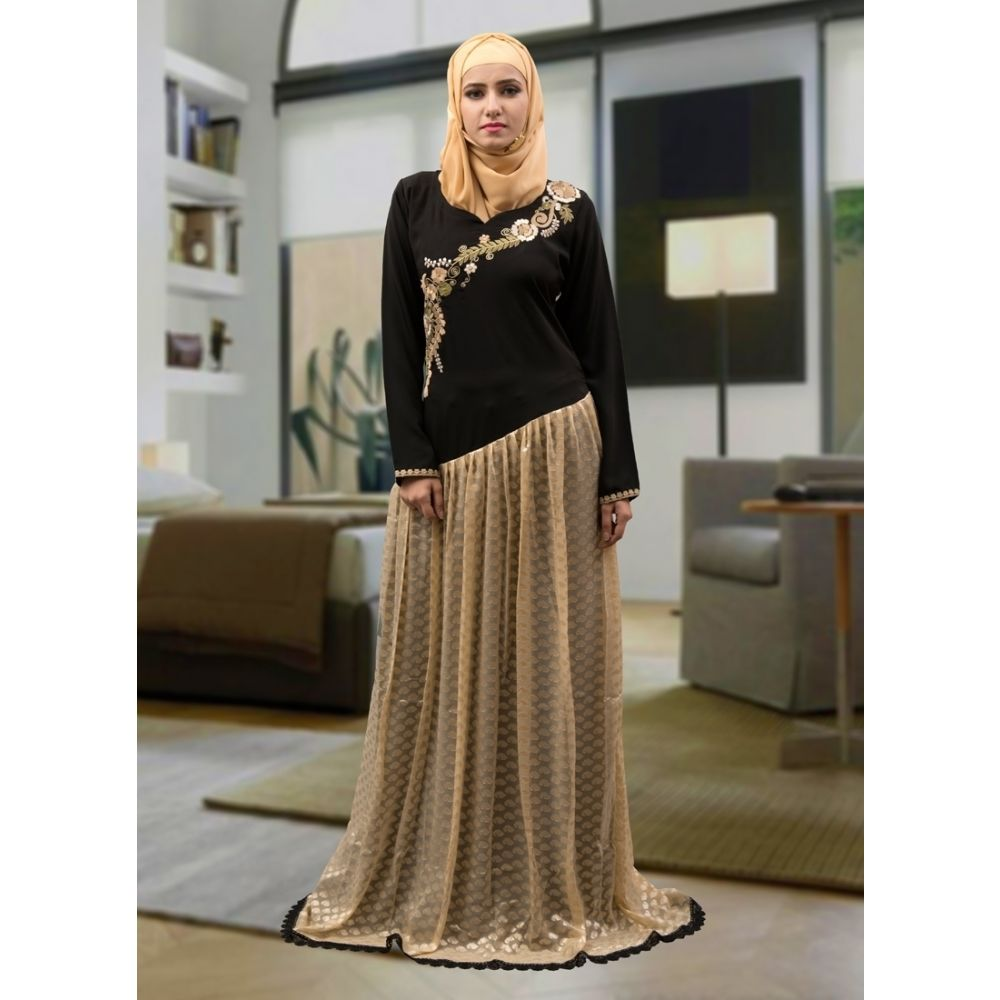 Abaya Maxi Dress Black and Beige Color