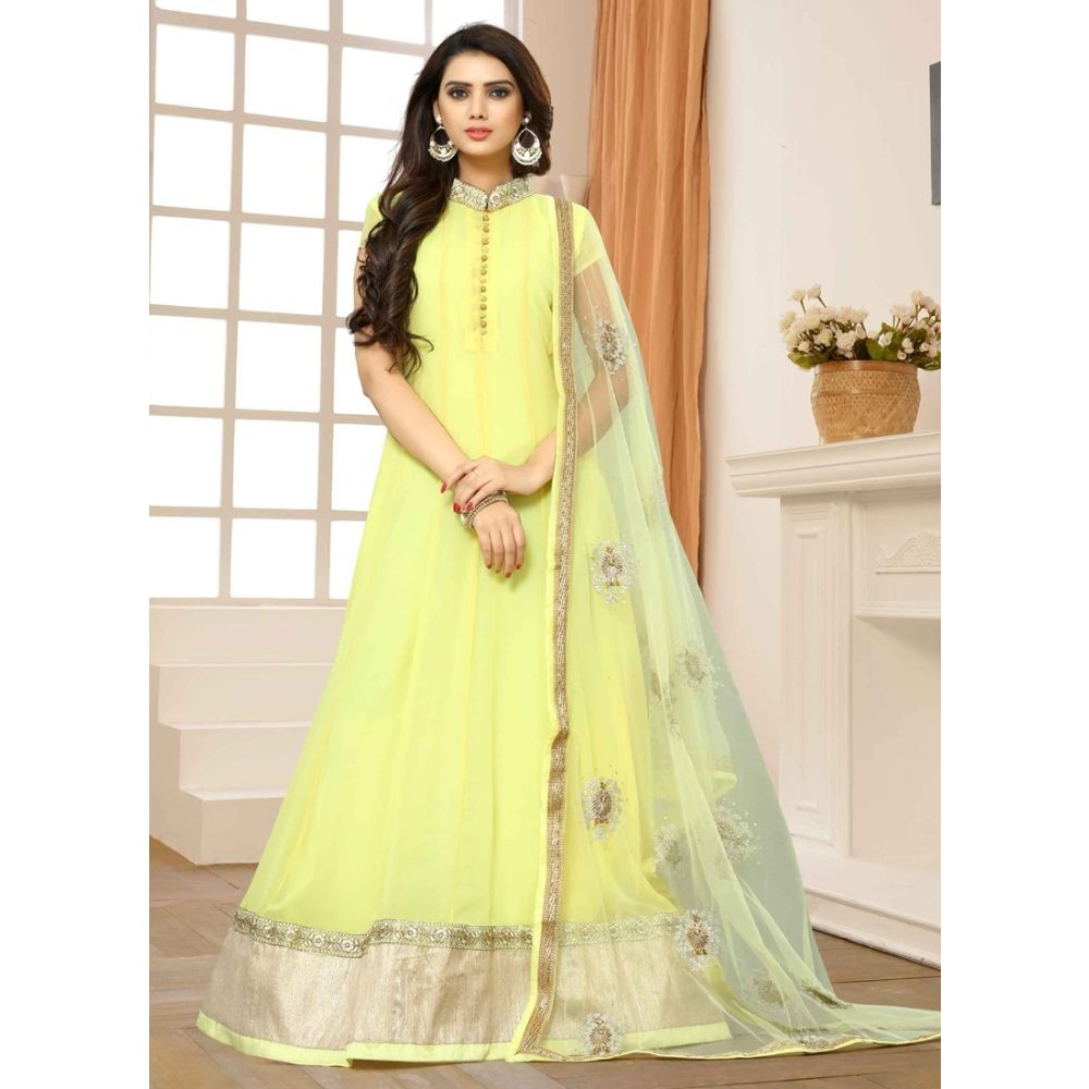Yellow color Designer-Georgette Salwar Kameez