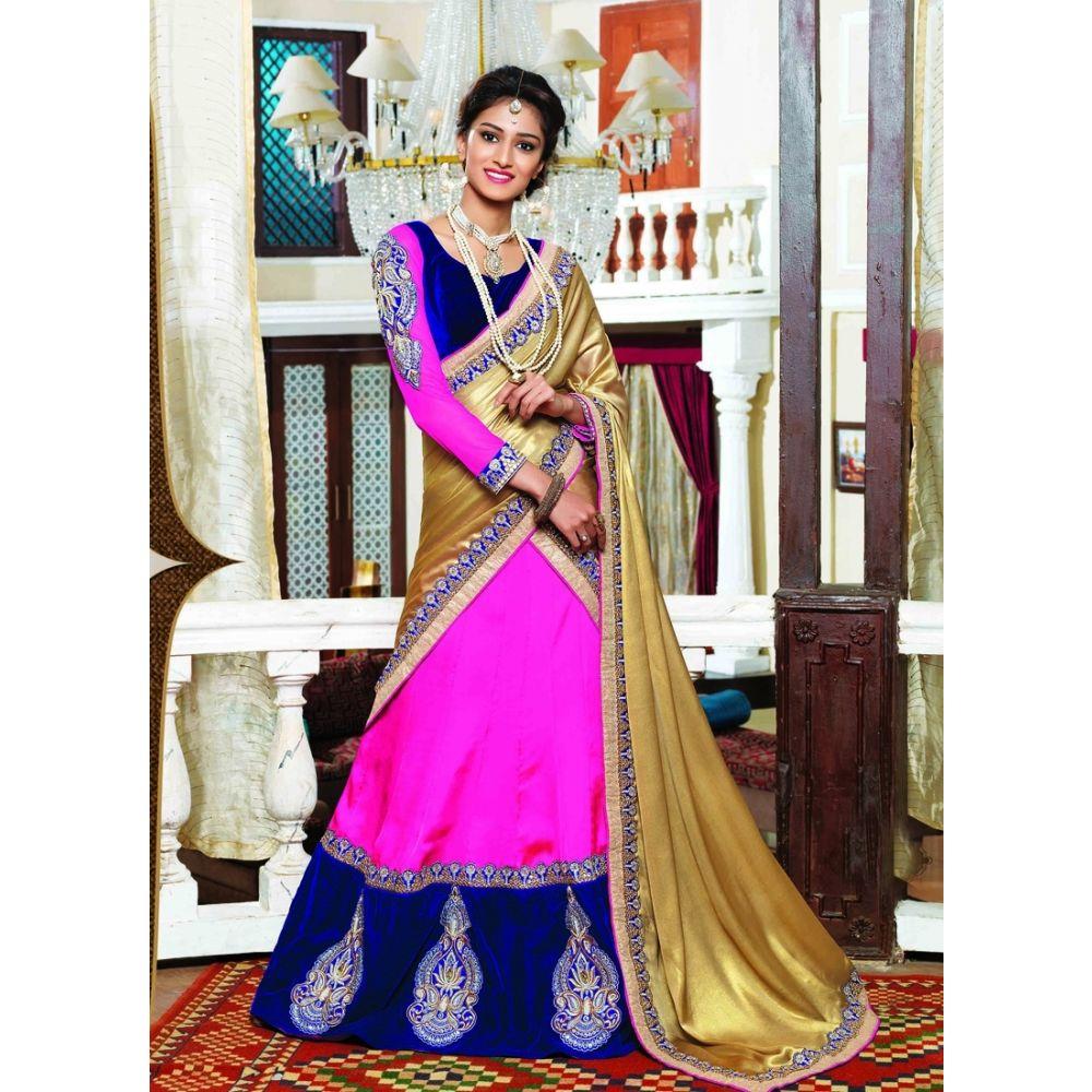 Pink and Blue color Designer Lehnga Choli-Georgette Lehenga Choli