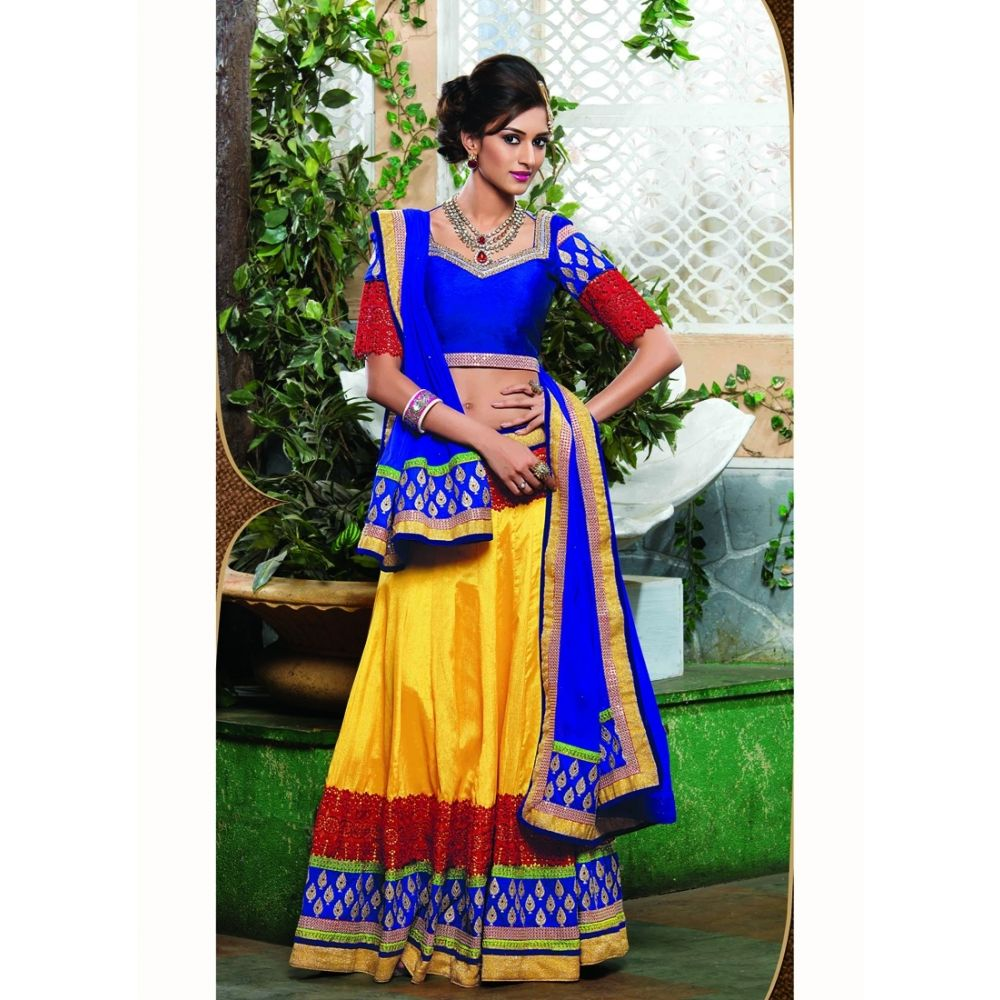 Yellow color Designer Lehnga Choli-Chiffon Lehenga Choli