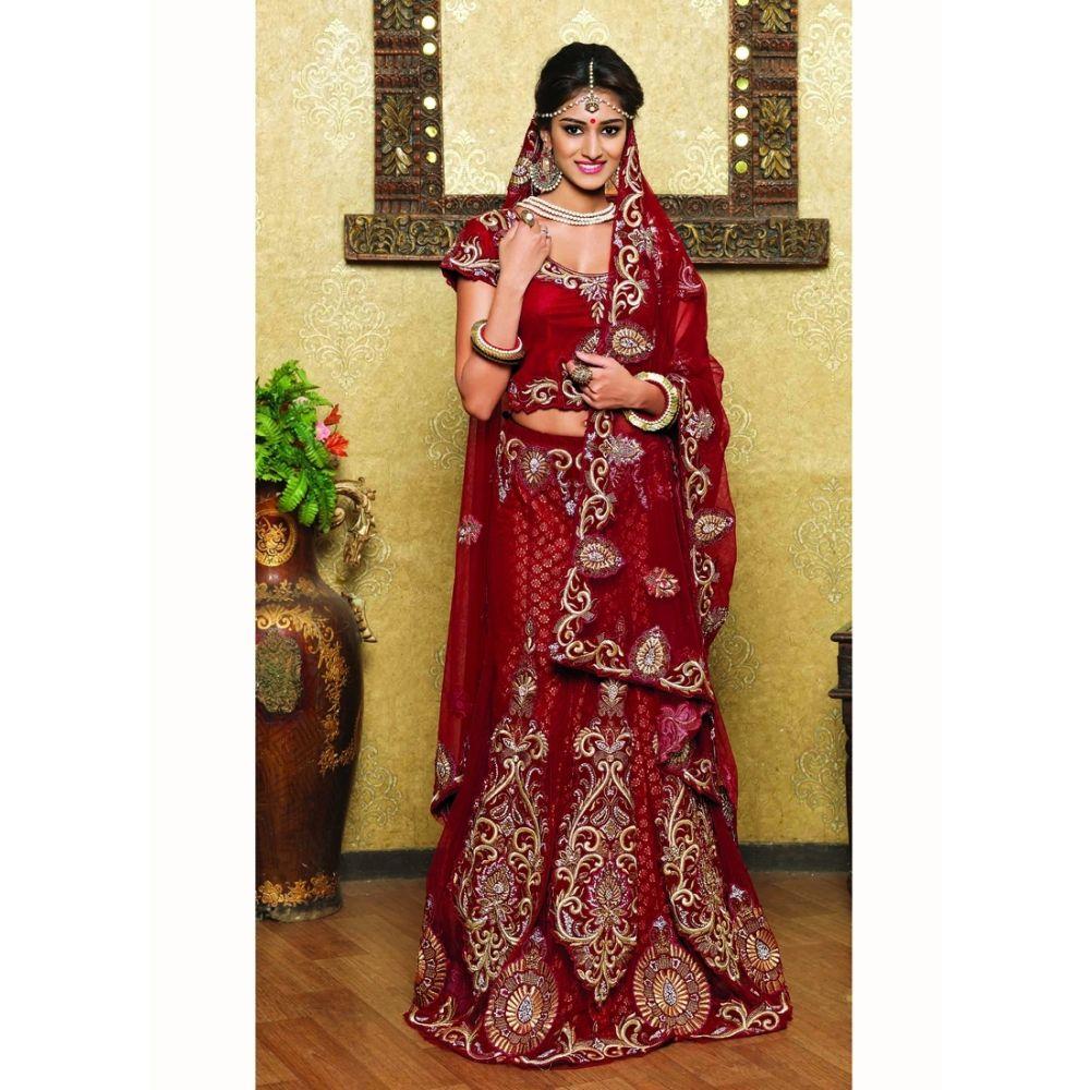 Maroon color Designer Lehnga Choli-Net Lehenga Choli