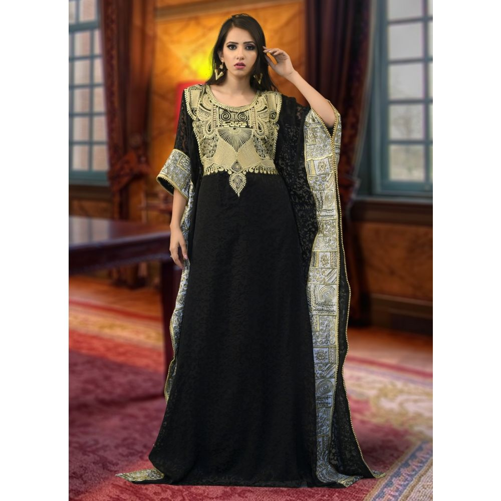 Arabic Muslim Black Color Abaya