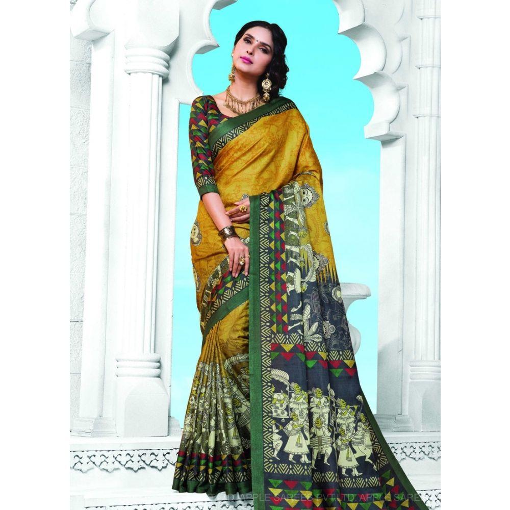 Multicoloured color Casual Saree-Silk Embroidered Saree