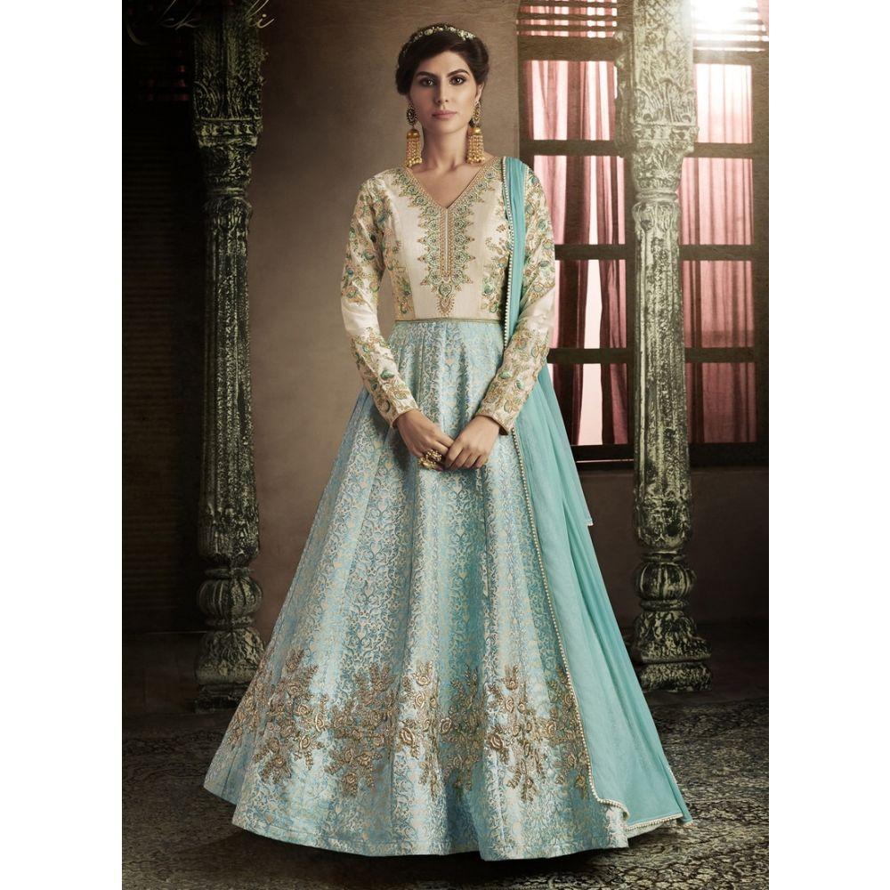 Blue and Off White color Designer-Brocade Salwar Kameez