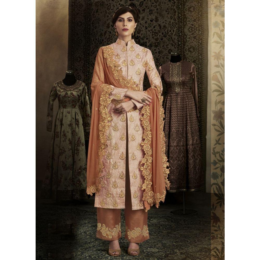 Orange color Designer-Brocade Salwar Kameez
