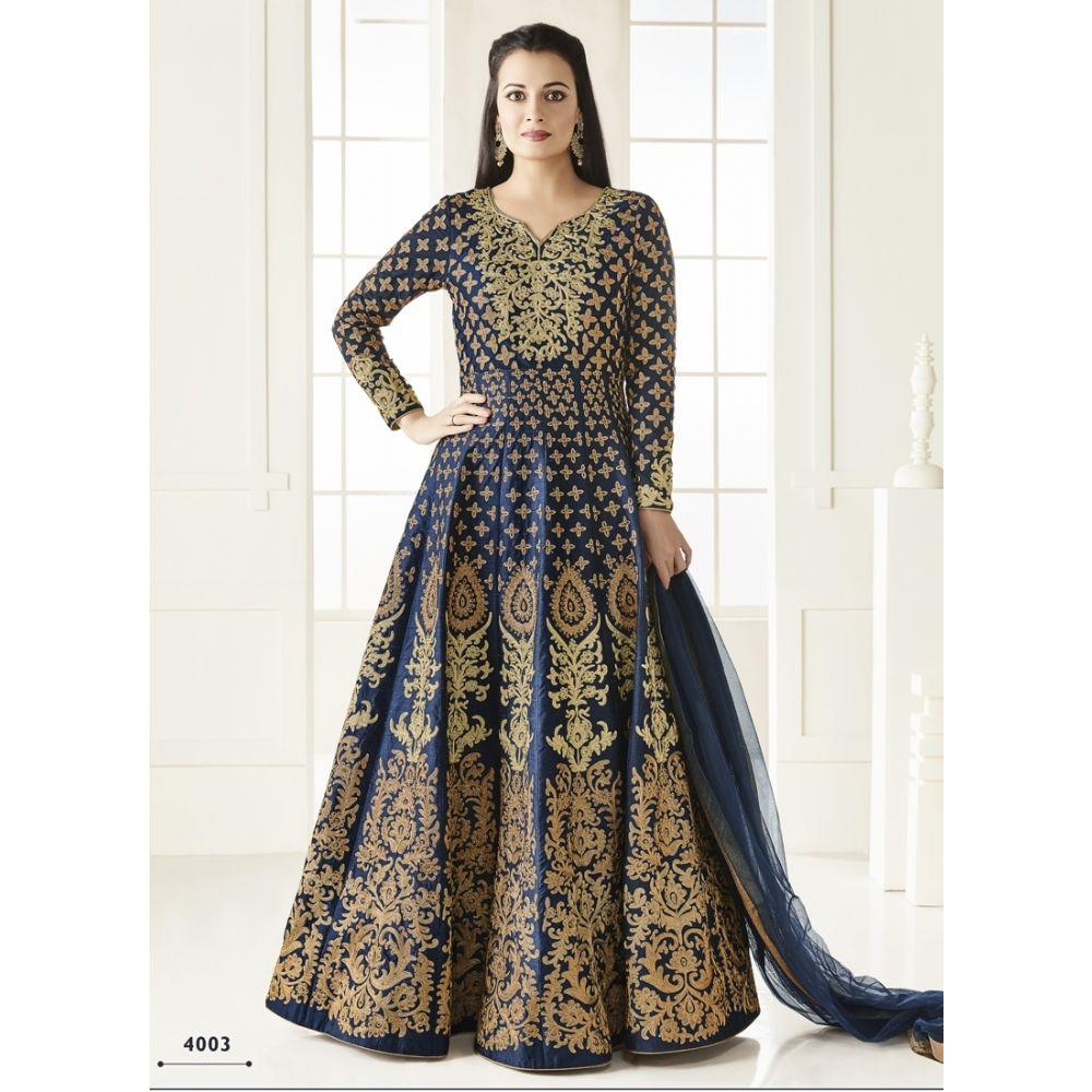 Blue color Anarkali Suits-Silk Salwar Kameez-FINAL SALE