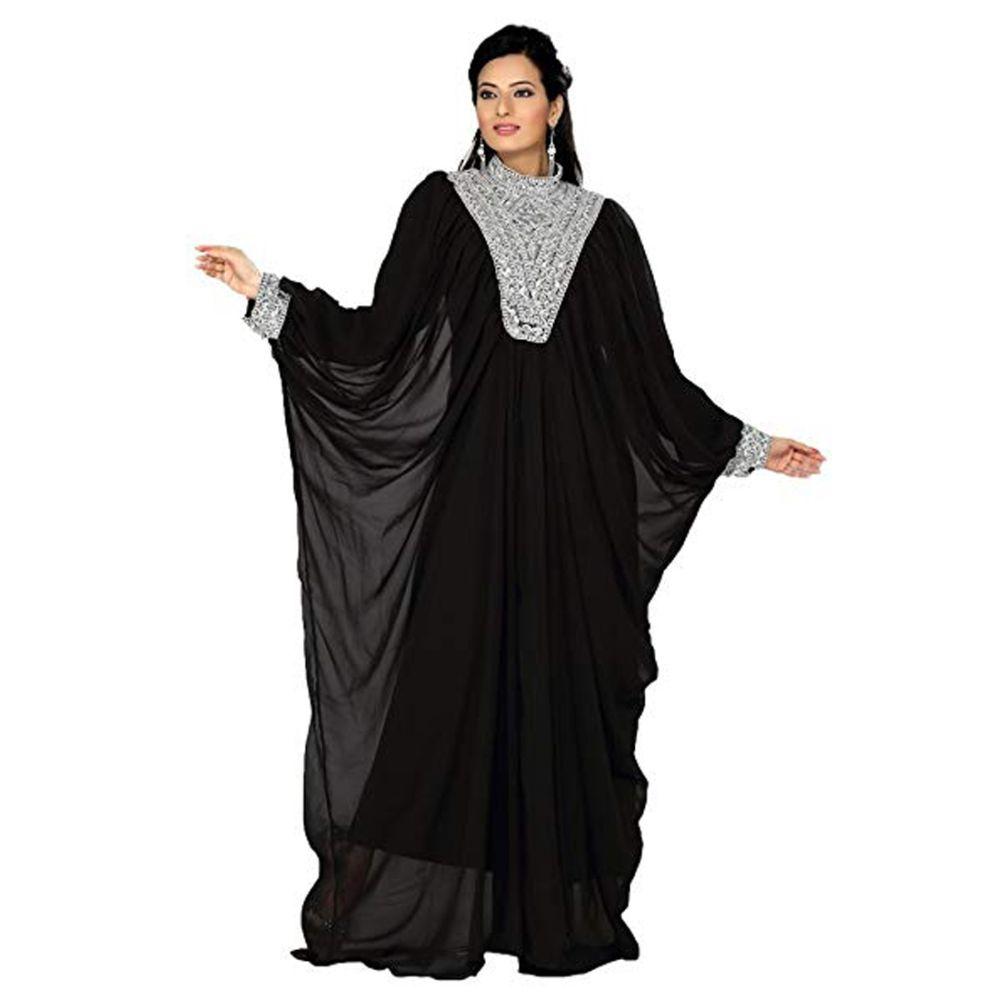 Black color Saudi Kaftan-Georgette Designer Kaftan-FINAL SALE
