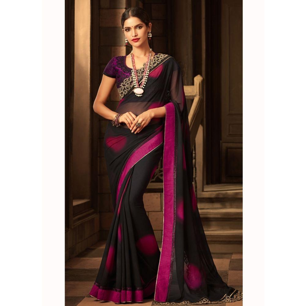 Black color Designer Saree-Silk Embroidered Saree