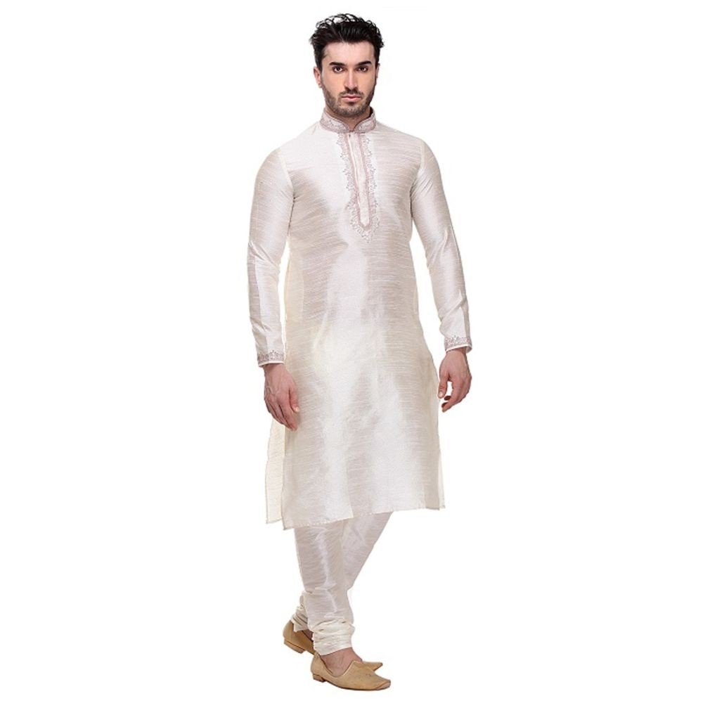 Off White color Kurta Churidar-Silk Men`S Wear