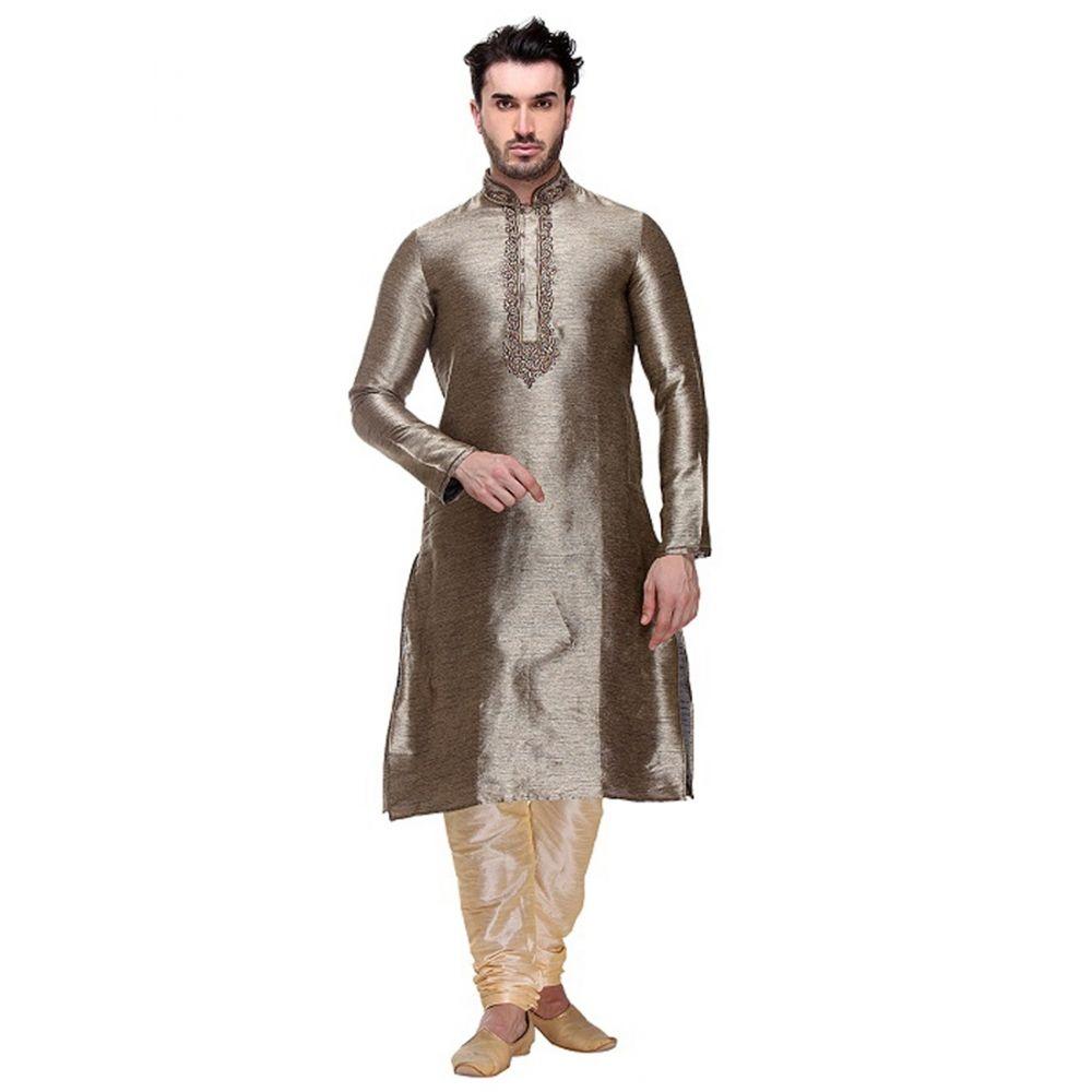 Grey color Kurta Churidar-Brocade Men`S Wear