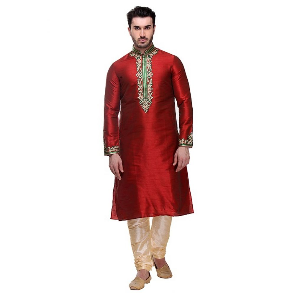 Maroon color Kurta Churidar-Silk Men`S Wear