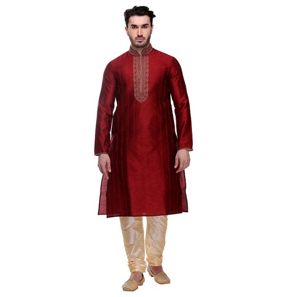 Maroon color Kurta Churidar-Silk Men`S Wear