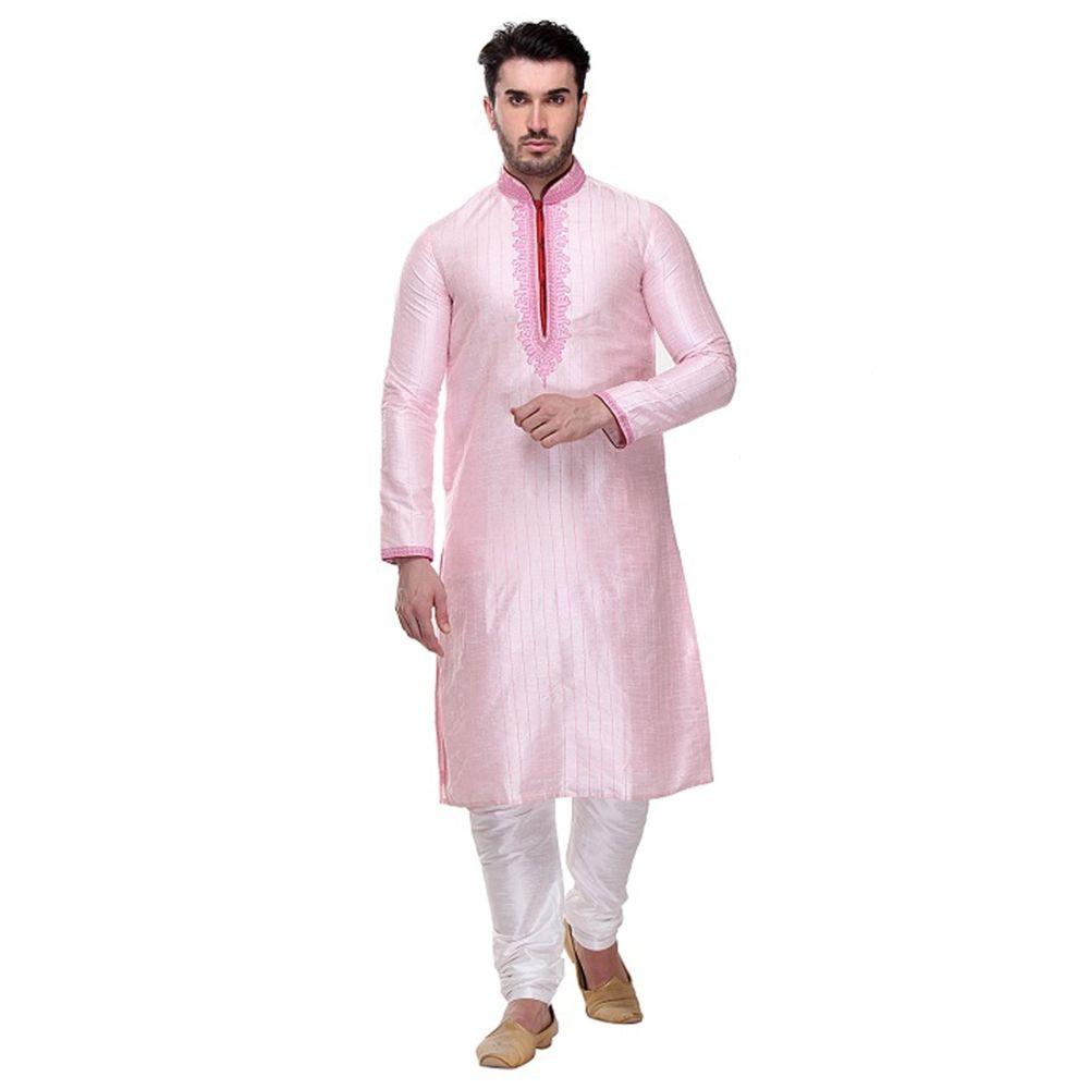 Pink color Kurta Churidar-Silk Men`S Wear