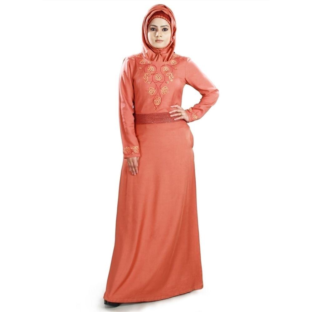Womens Abaya Orange Color Flamboyant