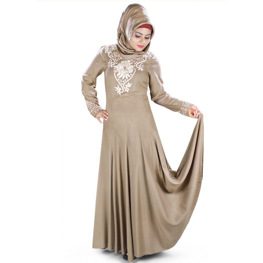 Womens Abaya Brown Color Flamboyant