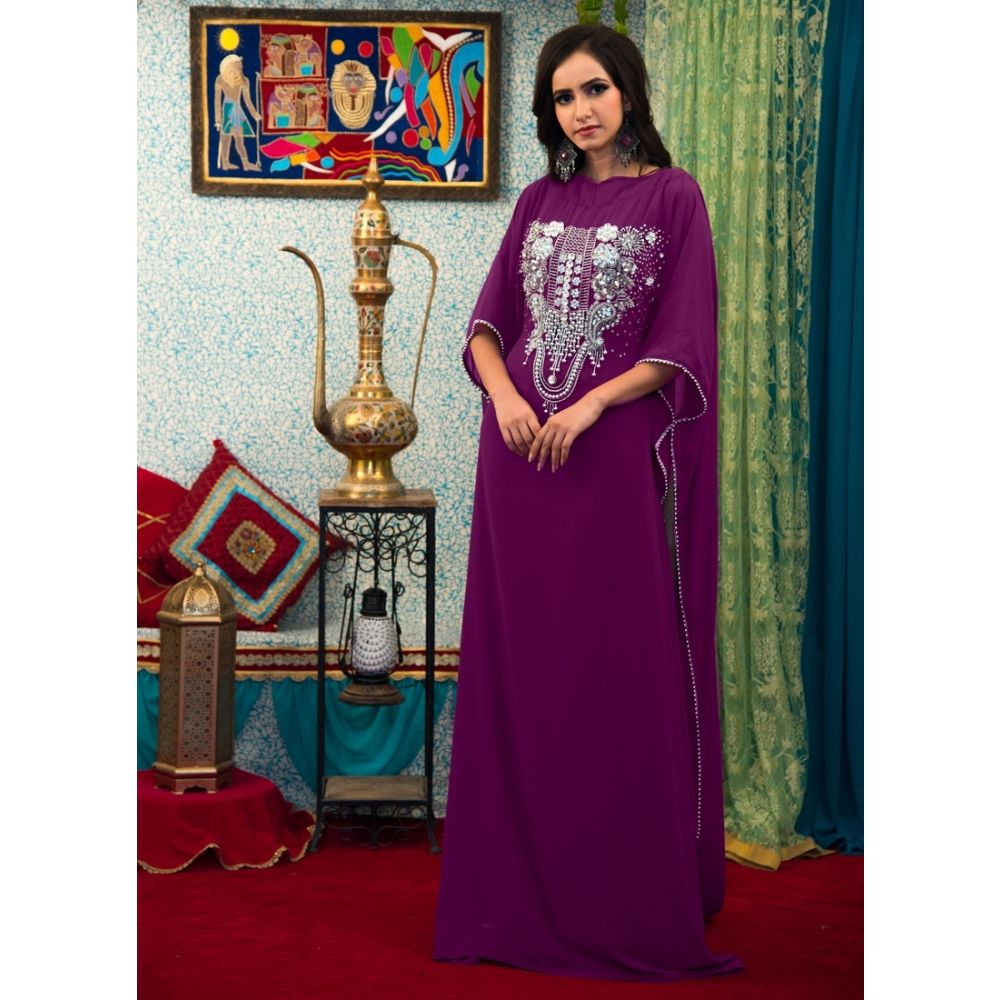 Purple Color Arabic Style Hand Made Kaftan