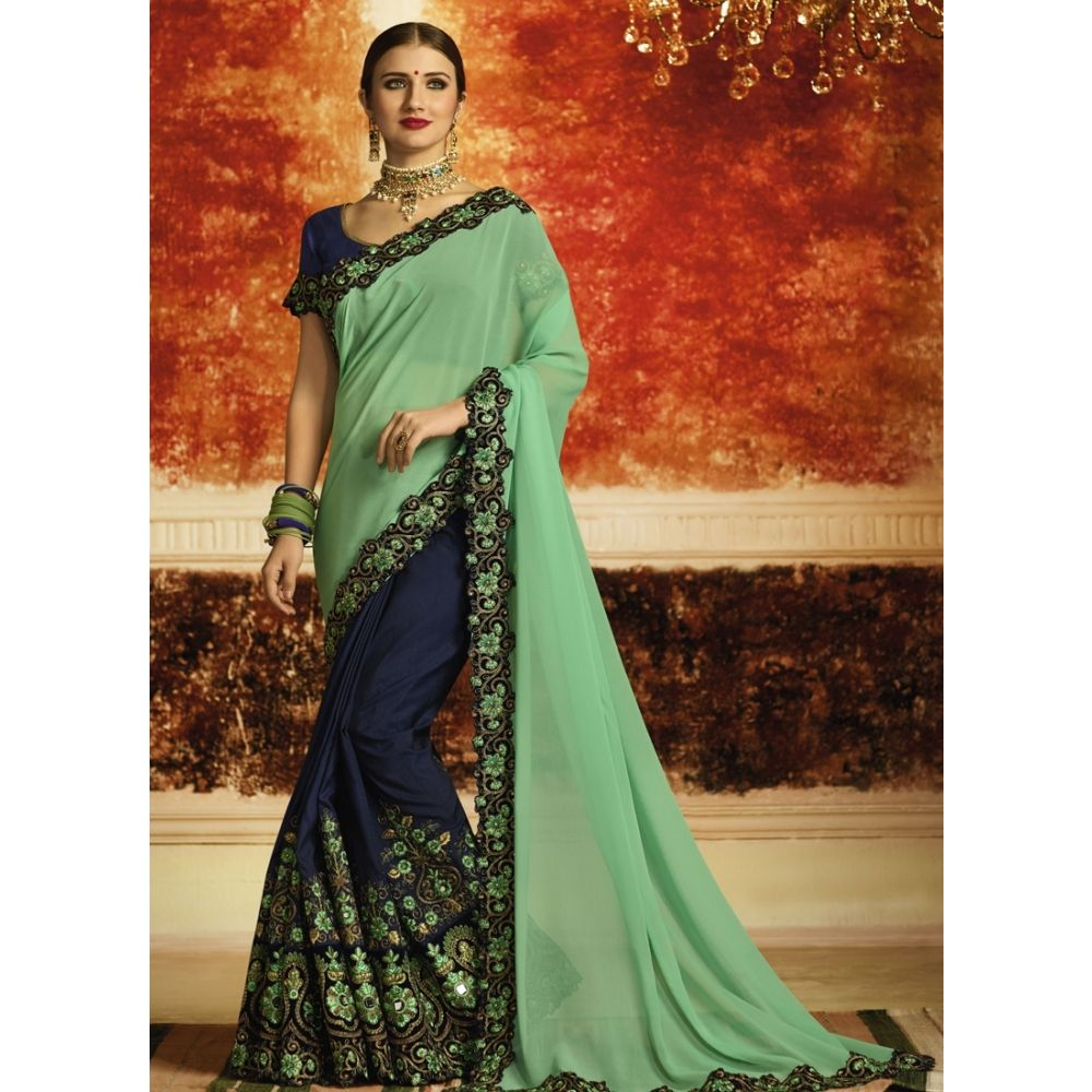 Green and Blue color Designer Saree-Georgette Embroidered Saree