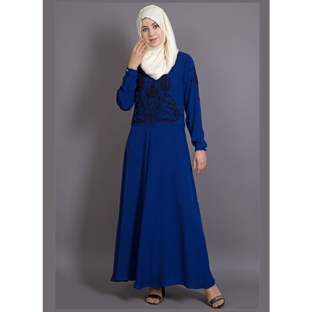 Womens Abaya Blue & Black Color Embroidery wear