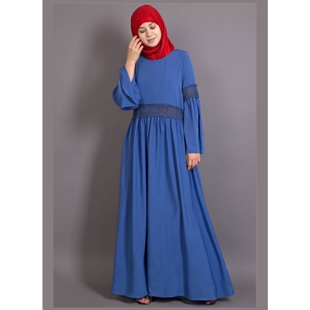 Womens Abaya Blue Color Embroidery wear