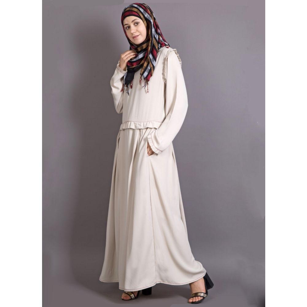 Womens Abaya Off White Color Formal wear